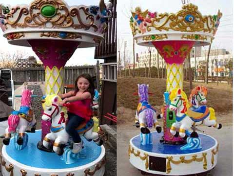 Kids Miniature Carousel Rides With 3 Horse